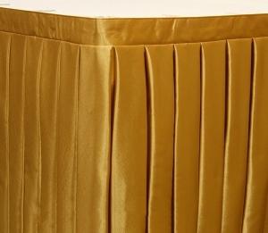 Фуршетная юбка на стол цвет золотой коэффициент складок 1:3