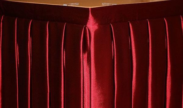 Фуршетная юбка на стол цвет бордовый коэффициент складок 1:3