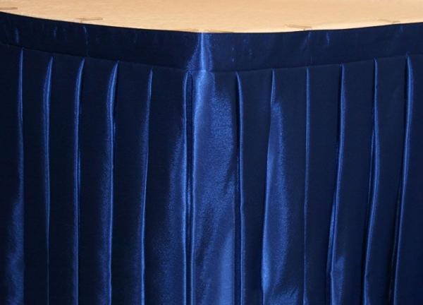 Фуршетная юбка на стол цвет синий коэффициент складок 1:3